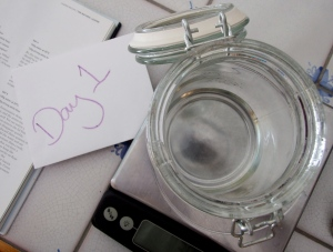 Take 1 kilner jar, pour in 50g of room temperature water,