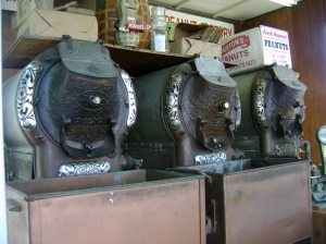 These vintage peanut roasters were over a hundred years old. The guy running them said the company that made them went out of buisness in 1929. 1929 people!