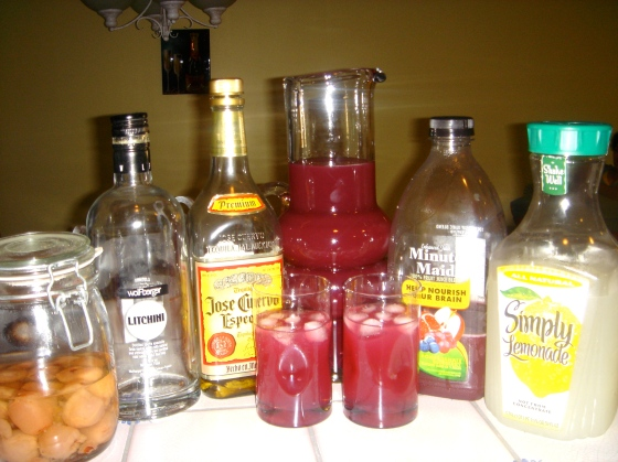 Meet the players ( from left) Home made Lychee vodka, Litchini, Jose Cuervo gold, Minute maid pomegranate blueberry juice and simply lemon