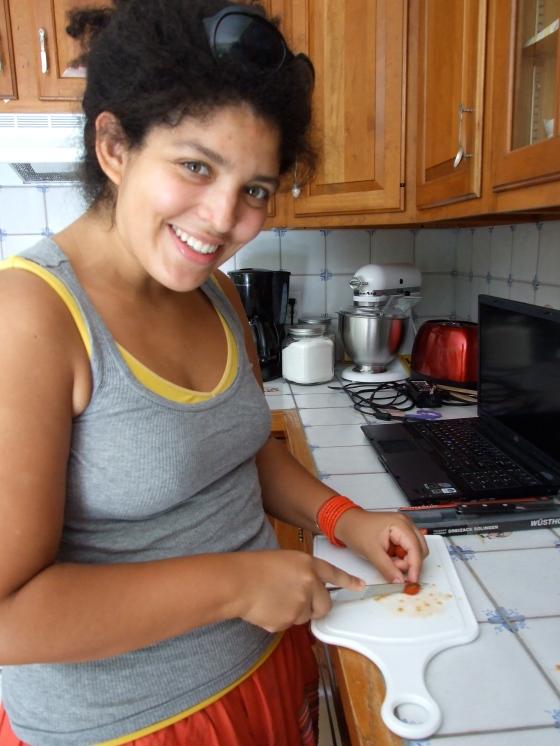 The Dutchess herself, chopping