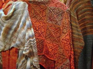 Pretty knit shawls.