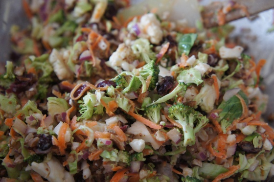 Vegetable slaw with cranberries and pecans